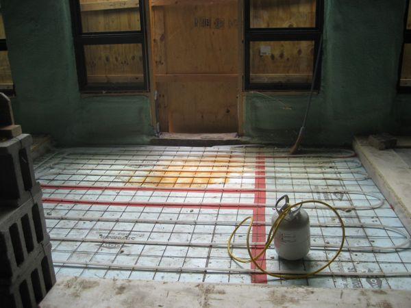 Pex tubing in foyer