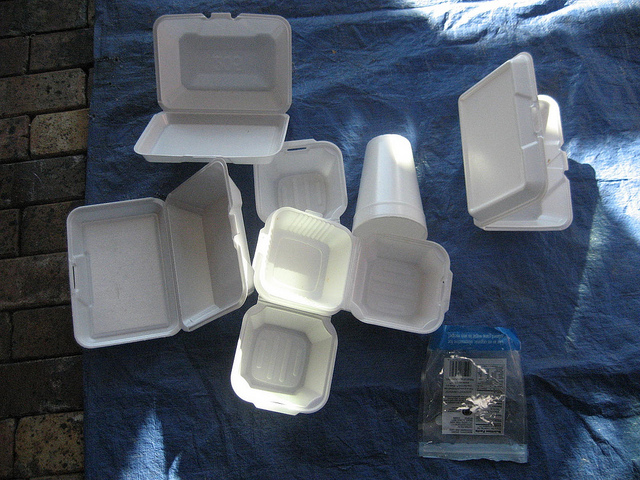 Contents of styrofoam container